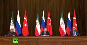 Persconferentie Poetin, Erdogan en Rouhani over Syrië